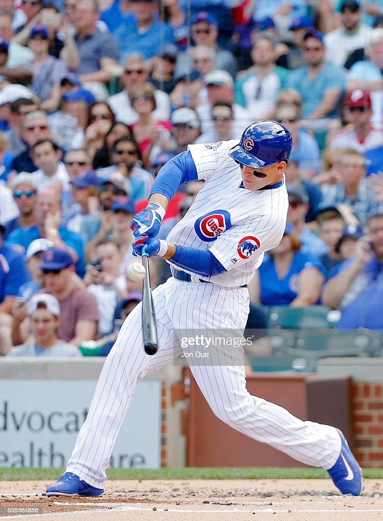 <a gi-track='captionPersonalityLinkClicked' href=/galleries/search?phrase=Anthony+Rizzo&family=editorial&specificpeople=7551494 ng-click='$event.stopPropagation()'>Anthony Rizzo</a> #44 of the Chicago Cubs hits an RBI single against the Philadelphia Phillies during the first inning to score Dexter Fowler #24 at Wrigley Field on May 29, 2016 in Chicago, Illinois.