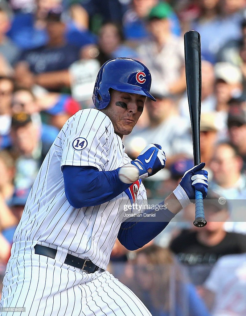 <a gi-track='captionPersonalityLinkClicked' href=/galleries/search?phrase=Anthony+Rizzo&family=editorial&specificpeople=7551494 ng-click='$event.stopPropagation()'>Anthony Rizzo</a> #44 of the Chicago Cubs is hit on the wrist by a pitch in the 8th inning against the Philadelphia Phillies at Wrigley Field on July 24, 2015 in Chicago, Illinois.