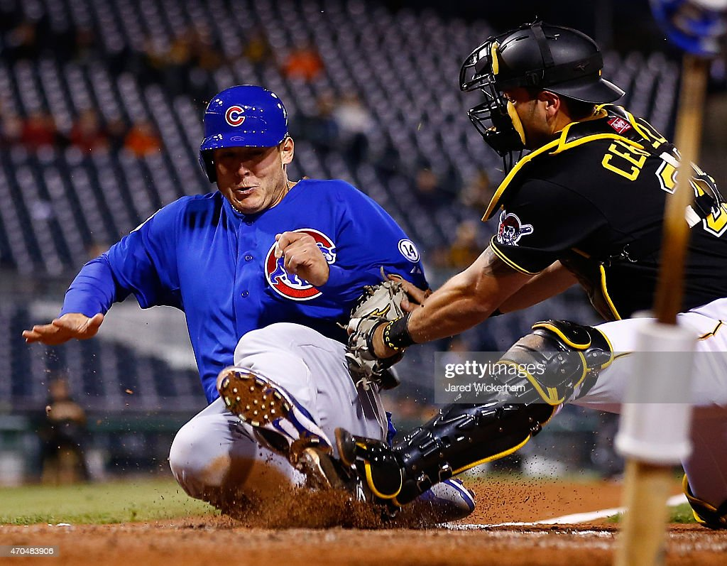 Anthony Rizzo 44 Of The Chicago Cubs Is Tagged Out At Home Plate By Francisco