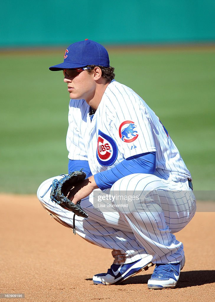<a gi-track='captionPersonalityLinkClicked' href=/galleries/search?phrase=Anthony+Rizzo&family=editorial&specificpeople=7551494 ng-click='$event.stopPropagation()'>Anthony Rizzo</a> #44 of the Chicago Cubs plays first base against the Los Angeles Dodgers on February 27, 2013 at HoHoKam Park in Mesa, Arizona.