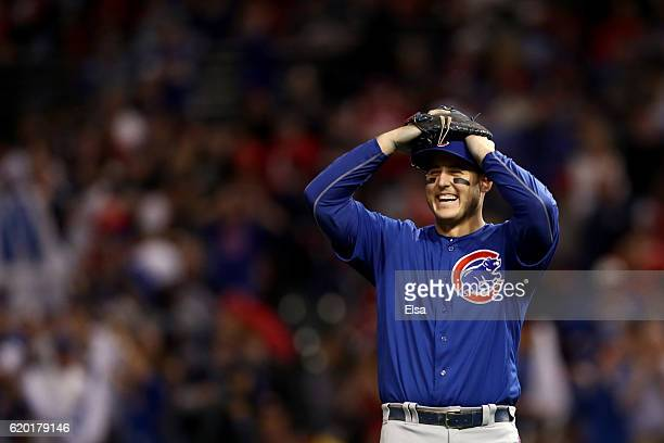 Anthony Rizzo of the Chicago Cubs reacts after defeating the Cleveland Indians 93 to win Game Six of the 2016 World Series at Progressive Field on...