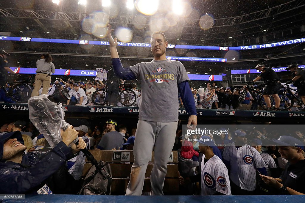 Anthony Rizzo #44 of the Chicago Cubs reacts after defeating the Cleveland Indians 8-7 in Game Seven of the 2016 World Series at Progressive Field on November 2, 2016 in Cleveland, Ohio. The Cubs win their first World Series in 108 years.