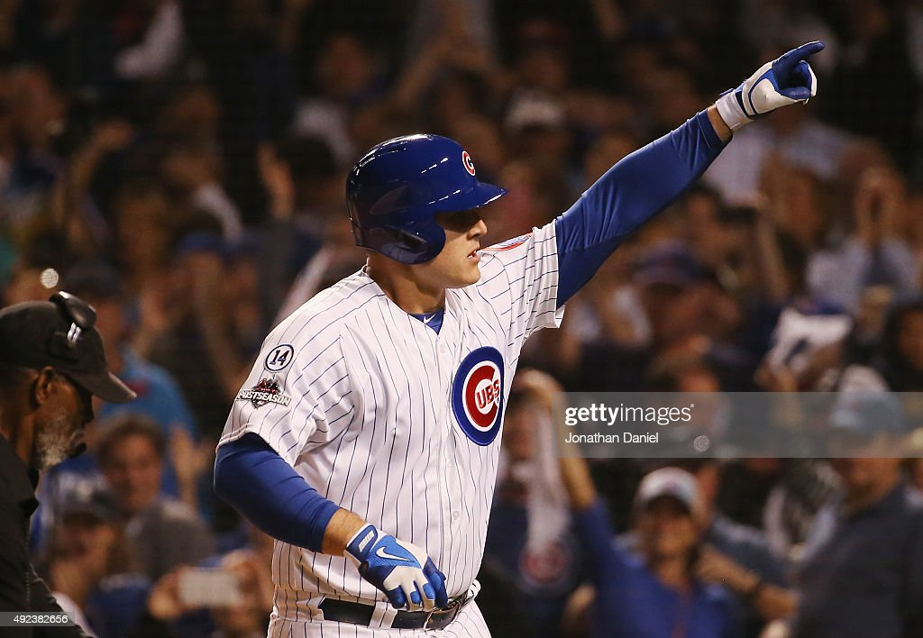 <a gi-track='captionPersonalityLinkClicked' href=/galleries/search?phrase=Anthony+Rizzo&family=editorial&specificpeople=7551494 ng-click='$event.stopPropagation()'>Anthony Rizzo</a> #44 of the Chicago Cubs reacts after hitting a solo home run in the fifth inning against the St. Louis Cardinals during game three of the National League Division Series at Wrigley Field on October 12, 2015 in Chicago, Illinois.