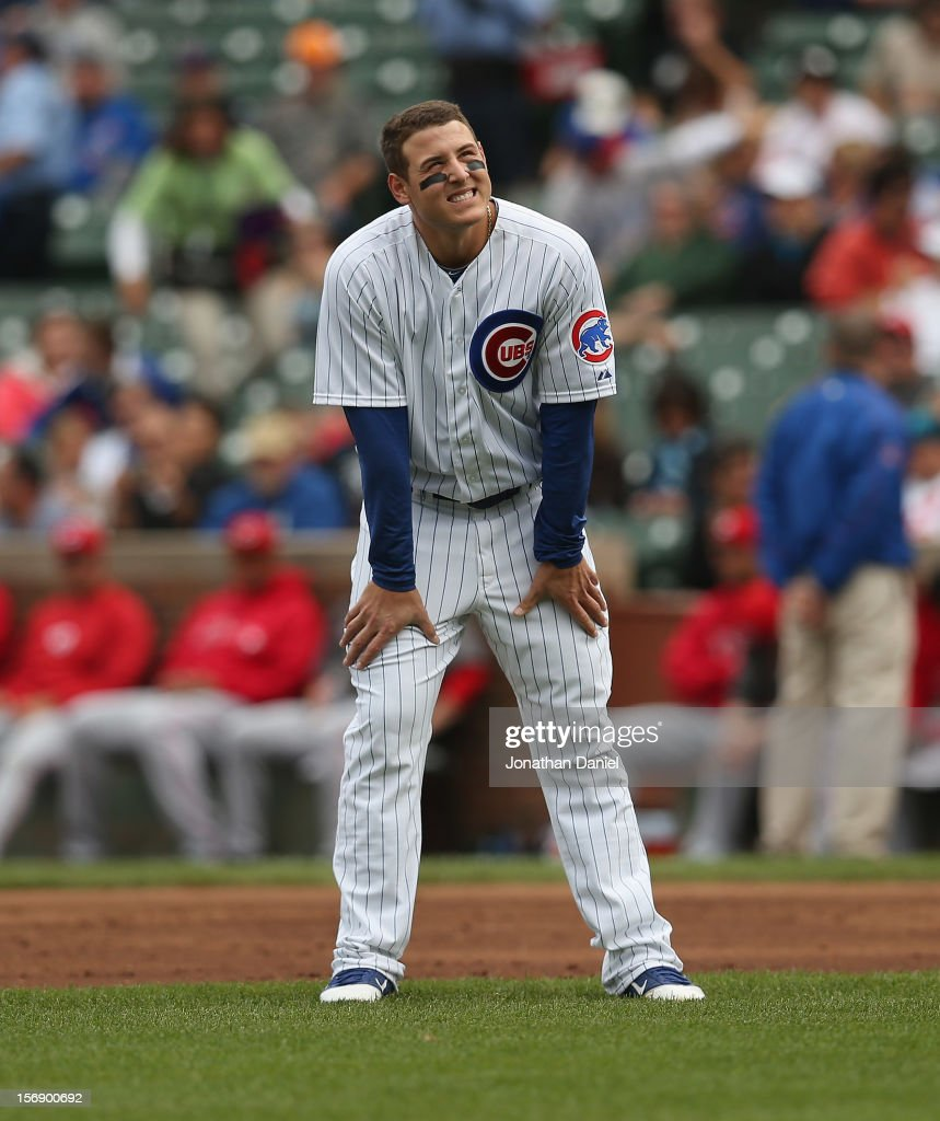 Anthony Rizzo #44 of the Chicago Cubs reacts after making an out against the Cincinnati Reds at Wrigley Field on September 20, 2012 in Chicago, Illinois.