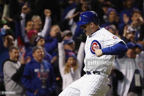 Anthony Rizzo of the Chicago Cubs reacts after scoring a run in the fourth inning against the Cleveland Indians in Game Five of the 2016 World Series...