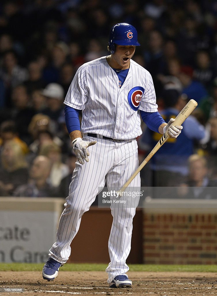 <a gi-track='captionPersonalityLinkClicked' href=/galleries/search?phrase=Anthony+Rizzo&family=editorial&specificpeople=7551494 ng-click='$event.stopPropagation()'>Anthony Rizzo</a> #44 of the Chicago Cubs reacts after striking out during the fourth inning against the St. Louis Cardinals on May 7, 2013 at Wrigley Field in Chicago, Illinois.