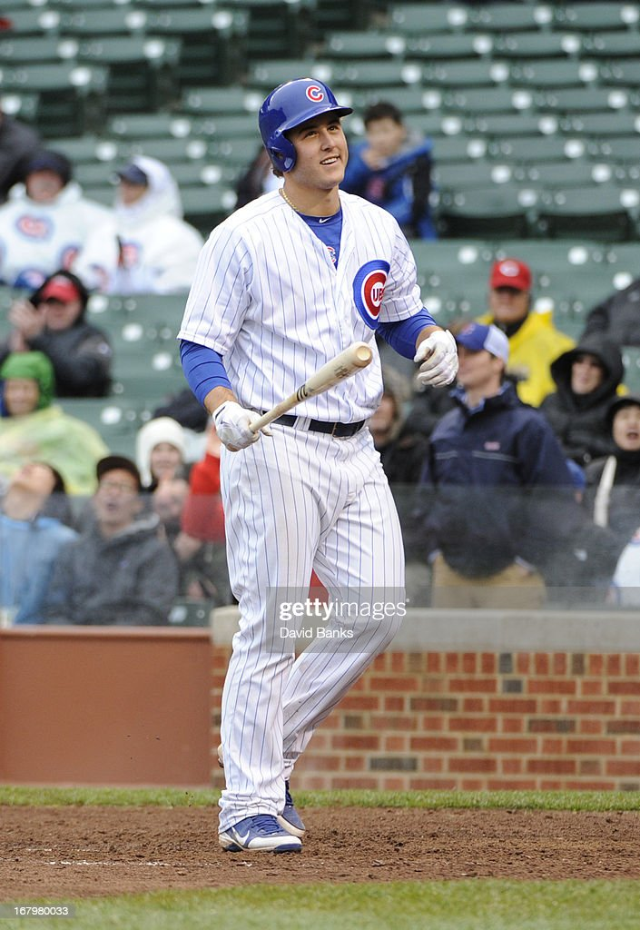 Anthony Rizzo #44 of the Chicago Cubs reacts after striking out in the ninth inning against the Cincinnati Reds on May 3, 2013 at Wrigley Field in Chicago, Illinois. The Reds defeated the Cubs 6-5.