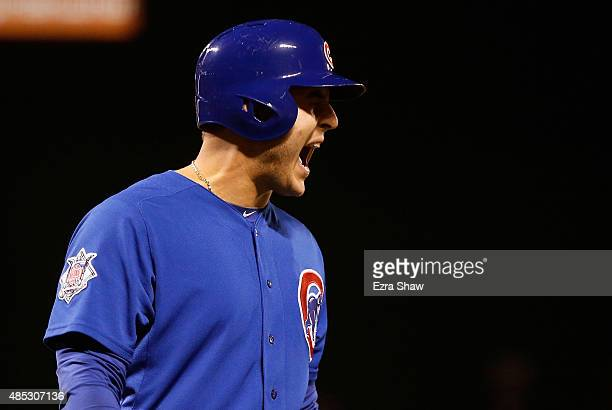 Anthony Rizzo of the Chicago Cubs reacts after striking out in the sixth inning against the San Francisco Giants at ATT Park on August 26 2015 in San...