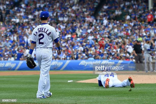Anthony Rizzo of the Chicago Cubs reacts to an error during a game against the Toronto Blue Jays at Wrigley Field on August 20 2017 in Chicago...