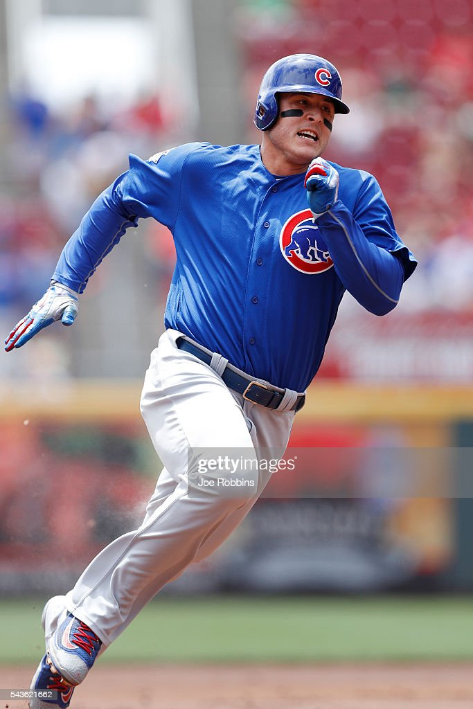 <a gi-track='captionPersonalityLinkClicked' href=/galleries/search?phrase=Anthony+Rizzo&family=editorial&specificpeople=7551494 ng-click='$event.stopPropagation()'>Anthony Rizzo</a> #44 of the Chicago Cubs rounds the bases on his way to an inside-the-park home run in the first inning against the Cincinnati Reds at Great American Ball Park on June 29, 2016 in Cincinnati, Ohio.