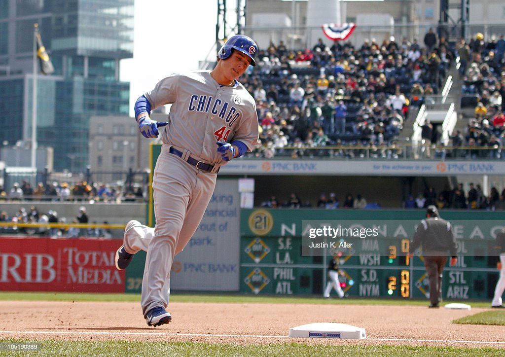 <a gi-track='captionPersonalityLinkClicked' href=/galleries/search?phrase=Anthony+Rizzo&family=editorial&specificpeople=7551494 ng-click='$event.stopPropagation()'>Anthony Rizzo</a> #44 of the Chicago Cubs rounds third after hitting a two run home run in the first inning against the Pittsburgh Pirates during opening day on April 1, 2013 at PNC Park in Pittsburgh, Pennsylvania.