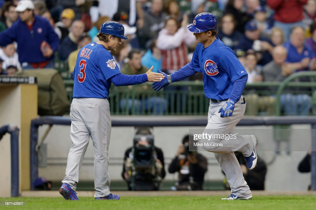 <a gi-track='captionPersonalityLinkClicked' href=/galleries/search?phrase=Anthony+Rizzo&family=editorial&specificpeople=7551494 ng-click='$event.stopPropagation()'>Anthony Rizzo</a> #44 of the Chicago Cubs runs the bases after hitting a two run homer in the top of the third inning against the Milwaukee Brewers at Miller Park on April 21, 2013 in Milwaukee, Wisconsin.