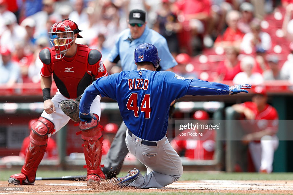 <a gi-track='captionPersonalityLinkClicked' href=/galleries/search?phrase=Anthony+Rizzo&family=editorial&specificpeople=7551494 ng-click='$event.stopPropagation()'>Anthony Rizzo</a> #44 of the Chicago Cubs slides safely at home plate with an inside-the-park home run in the first inning against the Cincinnati Reds at Great American Ball Park on June 29, 2016 in Cincinnati, Ohio.