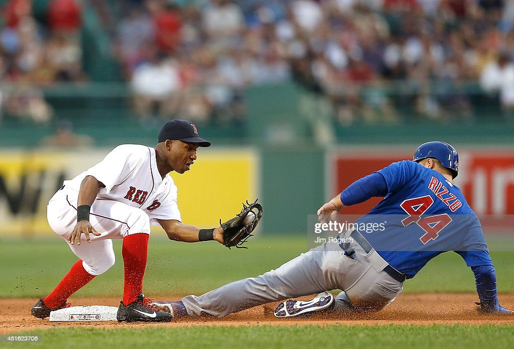Anthony Rizzo of the Chicago Cubs steals second as Jonathan Herrera of the Boston Red Sox fields a late throw in the 1st inning at Fenway Park on...
