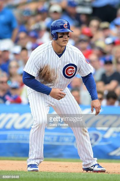 Anthony Rizzo of the Chicago Cubs takes a lead during a game against the Toronto Blue Jays at Wrigley Field on August 20 2017 in Chicago Illinois The...