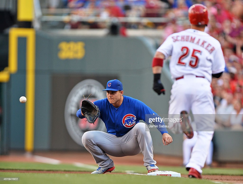 <a gi-track='captionPersonalityLinkClicked' href=/galleries/search?phrase=Anthony+Rizzo&family=editorial&specificpeople=7551494 ng-click='$event.stopPropagation()'>Anthony Rizzo</a> #44 of the Chicago Cubs takes the throw at first base to force out <a gi-track='captionPersonalityLinkClicked' href=/galleries/search?phrase=Skip+Schumaker&family=editorial&specificpeople=640599 ng-click='$event.stopPropagation()'>Skip Schumaker</a> #25 of the Cincinnati Reds in the first inning at Great American Ball Park on July 9, 2014 in Cincinnati, Ohio.