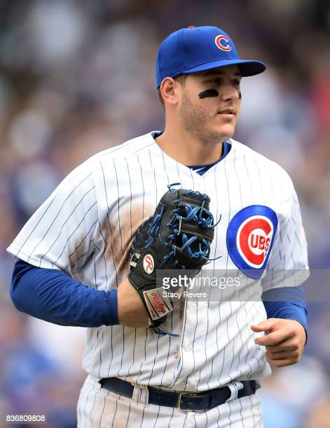 Anthony Rizzo of the Chicago Cubs walks off the field during a game against the Toronto Blue Jays at Wrigley Field on August 20 2017 in Chicago...