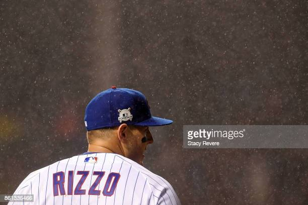Anthony Rizzo of the Chicago Cubs watches action during game four of the National League Division Series against the Washington Nationals at Wrigley...