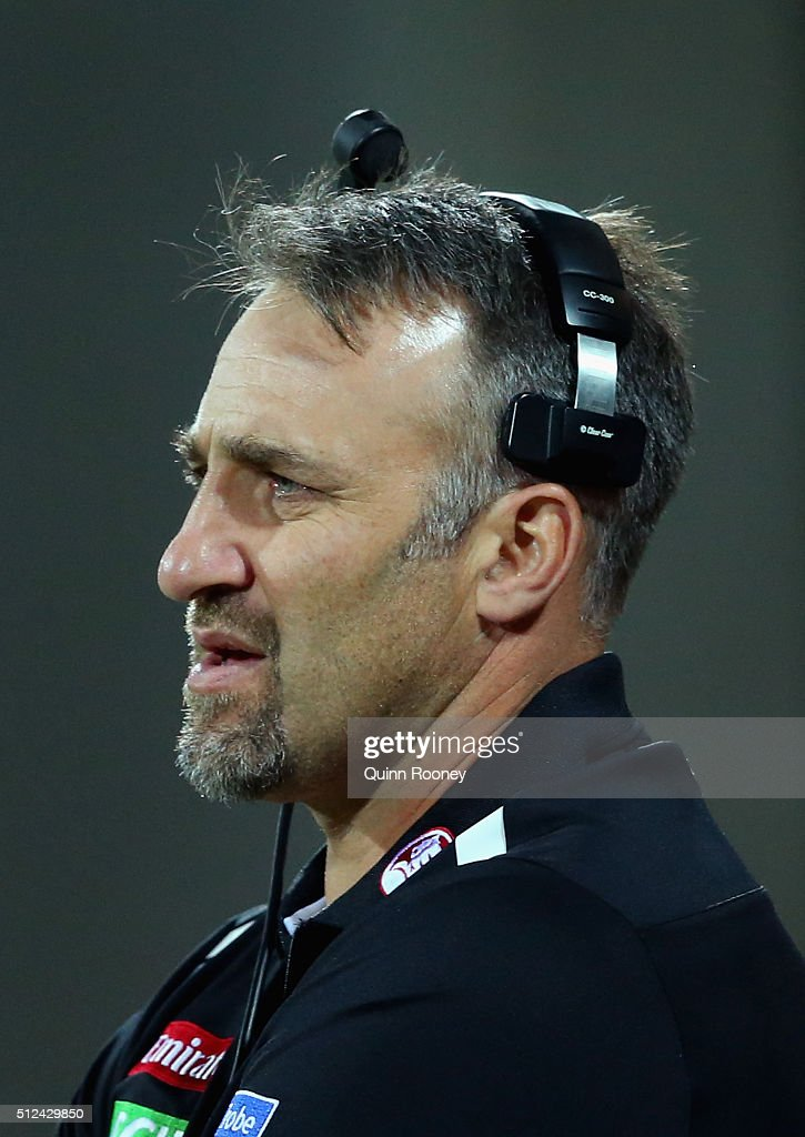Anthony Rocca the assistant coach of the Magpies looks on during the 2016 NAB Challenge match between the Geelong Cats and the Collingwood Magpies at Simonds Stadium on February 26, 2016 in Geelong, Australia.