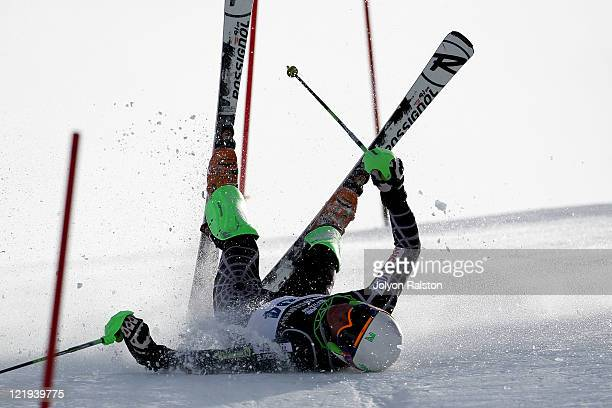 Anthony Romano of the United States of America loses control in the Mens Slalom run one during day 12 of the Winter Games NZ at Coronet Peak on...