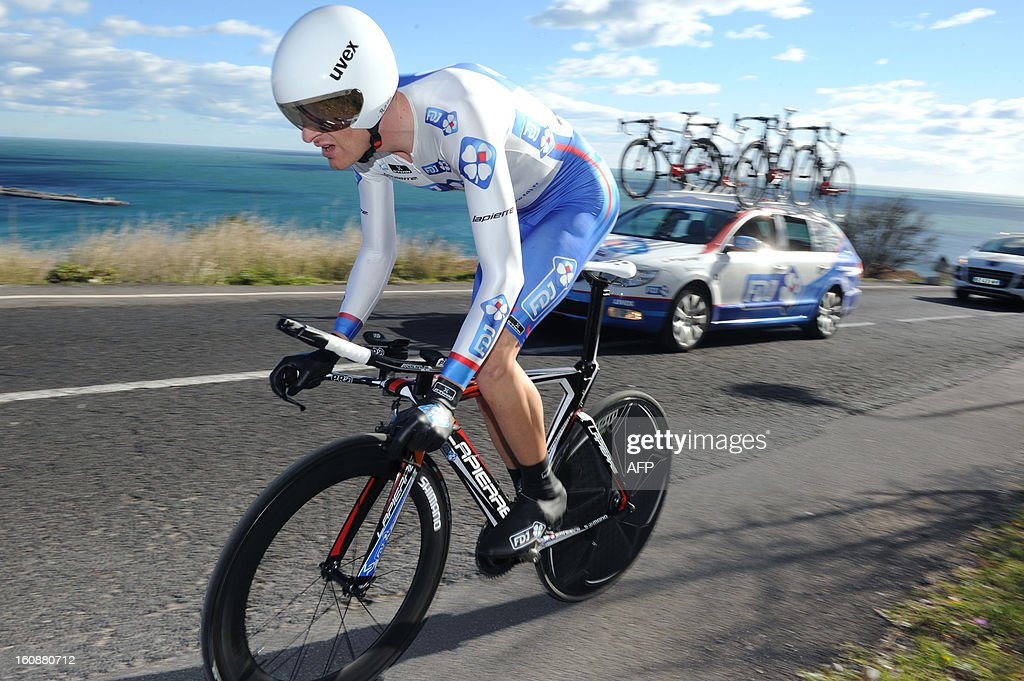 Anthony Roux of France competes during the second stage, a 24km individual time trial, of the 40th edition of the Tour Mediterraneen cycling race from Cap d'Agde to Sete on February 7, 2013 in Sete, southern France. Lars Boom of Netherland won the stage .