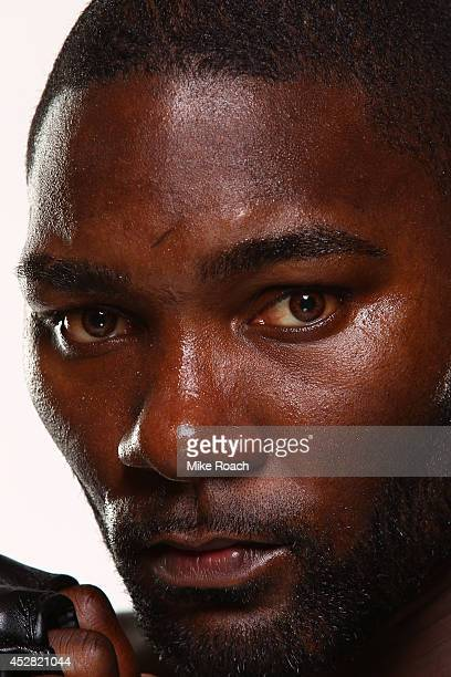 Anthony 'Rumble' Johnson poses for a postfight portrait backstage during the UFC Fight Night event at the SAP Center on July 26 2014 in San Jose...