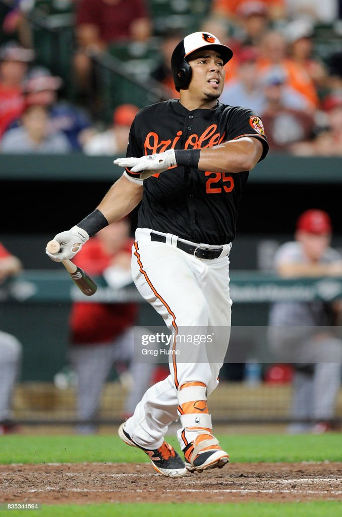 Anthony Santander #25 of the Baltimore Orioles hits a single in the ninth inning for his first career hit during his Major League debut against the Los Angeles Angels at Oriole Park at Camden Yards on August 18, 2017 in Baltimore, Maryland.
