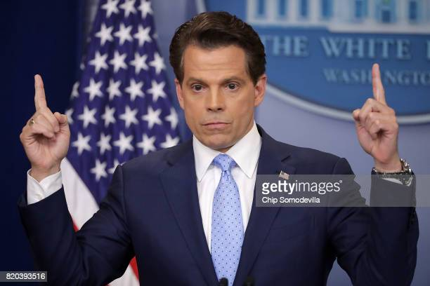 Anthony Scaramucci answers reporters' questions during the daily White House press briefing in the Brady Press Briefing Room at the White House July...