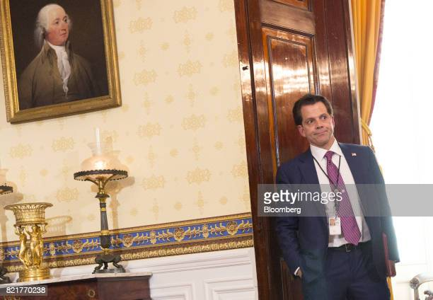 Anthony Scaramucci director of communications for the White House listens during a press conference on healthcare with US President Donald Trump not...