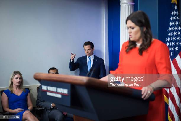 Anthony Scaramucci incoming White House communications director points as he follows new White House press secretary Sarah Huckabee Sanders into the...