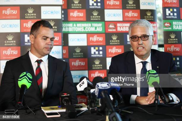 Anthony Seibold and Nick Pappas speak to the media during a South Sydney Rabbitohs NRL coaching announcement at Redfern Oval on September 7 2017 in...
