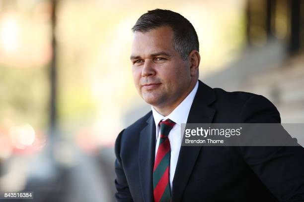 Anthony Seibold poses during a South Sydney Rabbitohs NRL coaching announcement at Redfern Oval on September 7 2017 in Sydney Australia