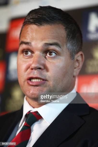 Anthony Seibold speaks to the media during a South Sydney Rabbitohs NRL coaching announcement at Redfern Oval on September 7 2017 in Sydney Australia