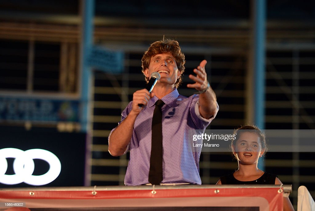 Anthony Shriver speaks onstage at the Best Buddies Bash Featuring Far East Movement and SkyBlu of LMFAO at Marlins Park on November 16, 2012 in Miami, Florida.