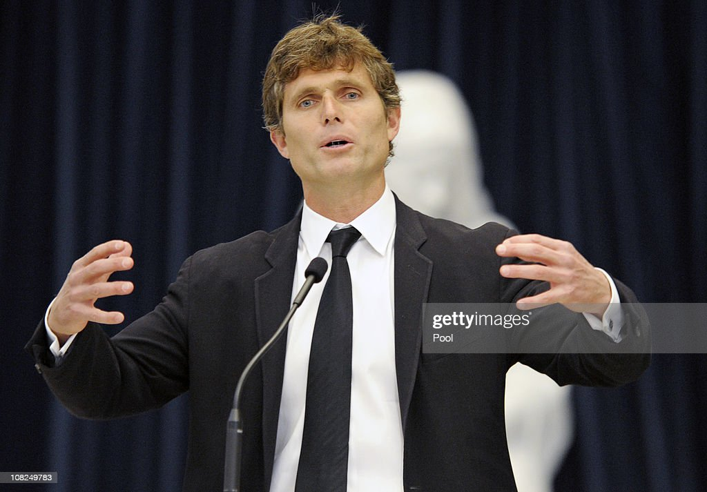 <a gi-track='captionPersonalityLinkClicked' href=/galleries/search?phrase=Anthony+Shriver&family=editorial&specificpeople=727552 ng-click='$event.stopPropagation()'>Anthony Shriver</a> talks about his father at the funeral service for Sargent Shriver at Our Lady of Mercy Catholic Church January 22, 2011 in Potomac, Maryland. Robert Sargent Shriver Jr., a politician and activist who was the first leader of the Peace Corps and was involved in other social programs, died this week at the age of 95.