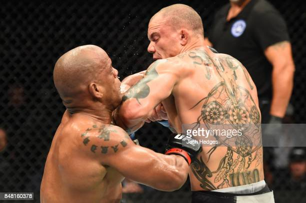 Anthony Smith lands an elbow against Hector Lombard of Cuba in their middleweight bout during the UFC Fight Night event inside the PPG Paints Arena...