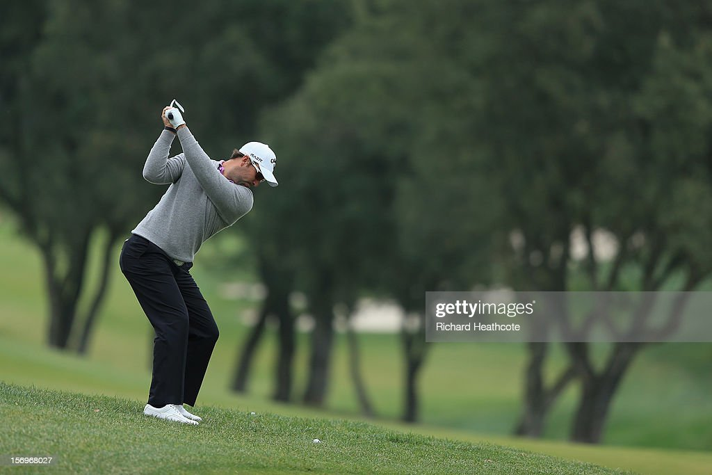Anthony Snobeck of France plays into the 7th green during the third round of the European Tour Qualifying School Finals at PGA Catalunya Resort on November 26, 2012 in Girona, Spain.