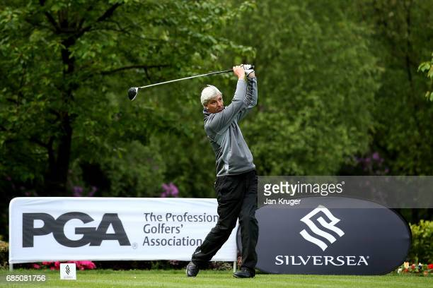 Anthony Sproston of AE Golf Academy tees off during the final round of the Silversea Senior PGA Professional Championship at Foxhills Golf Course on...