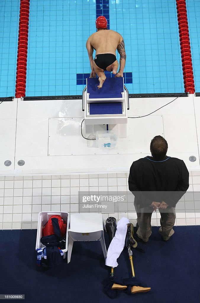 Anthony Stephens of Great Britain competes in the Men's 50m Freestyle - S5 final on day 1 of the London 2012 Paralympic Games at Aquatics Centre on August 30, 2012 in London, England.