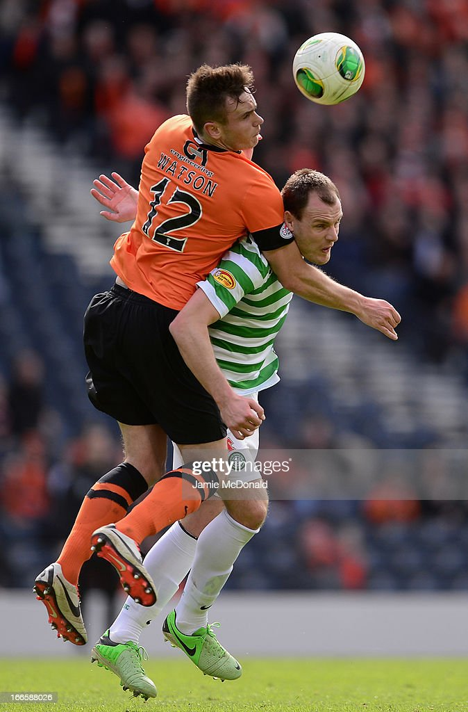 <a gi-track='captionPersonalityLinkClicked' href=/galleries/search?phrase=Anthony+Stokes&family=editorial&specificpeople=3772397 ng-click='$event.stopPropagation()'>Anthony Stokes</a> of Celtic battles with Keith Watson of Dundee United during The William Hill Scottish Cup Semi Final between Dundee United and Celtic at Hampden Park on April 14, 2013 in Glasgow, United Kingdom.