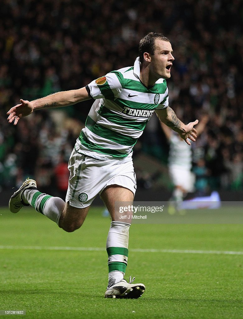 Anthony Stokes of Celtic celebrates after scoring his second goal during the UEFA Europa League group I match between Celtic and Stade Rennais at...