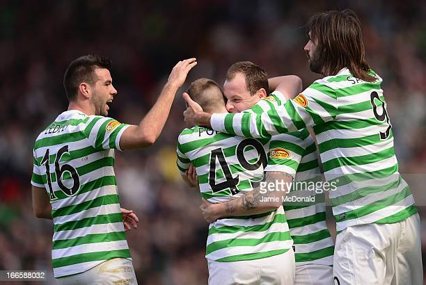 Anthony Stokes of Celtic celebrates scoring the winning goal during The William Hill Scottish Cup Semi Final between Falkirk and Hibernian at Hampden...
