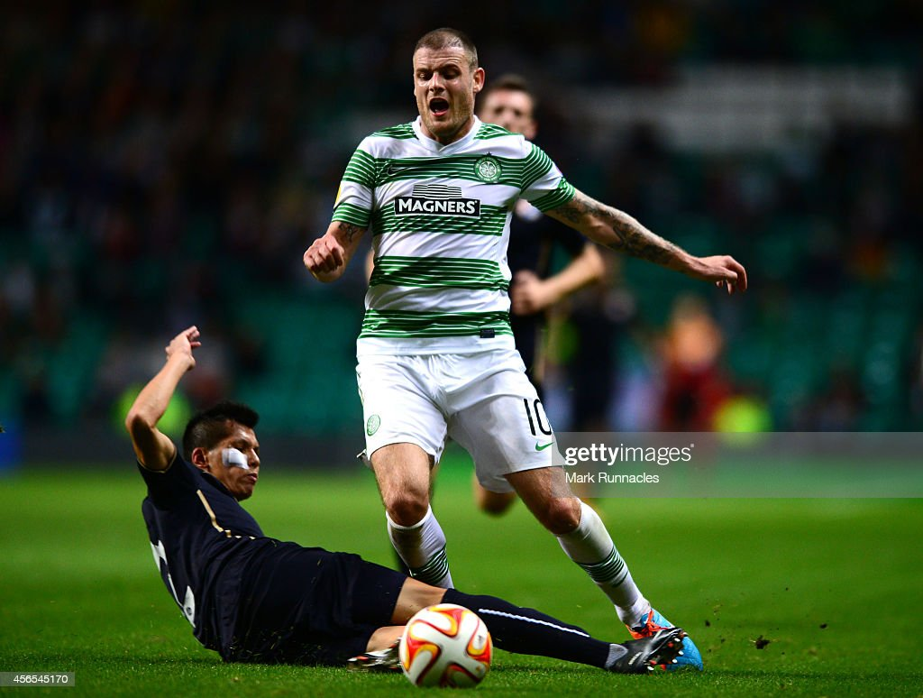 <a gi-track='captionPersonalityLinkClicked' href=/galleries/search?phrase=Anthony+Stokes&family=editorial&specificpeople=3772397 ng-click='$event.stopPropagation()'>Anthony Stokes</a> of Celtic is challenged by El Arabi Hilal Soudani of Dinamo Zagreb challenge during the UEFA Europa League group D match between Celtic and Dinamo Zagreb at Celtic Park on October 02, 2014 in Glasgow Scotland.