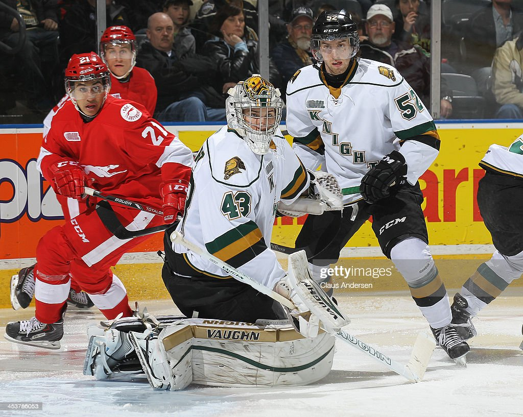 Anthony Stolarz #43 of the London Knights watches for a rebound against the Sault Ste. Marie Greyhounds during an OHL game at the Budweiser Gardens on December 4, 2013 in London, Ontario, Canada. The Knights defeated the Greyhounds 3-2.