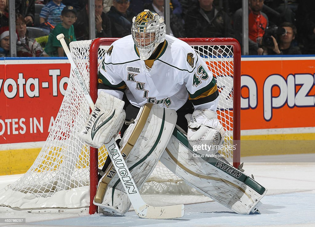 Anthony Stolarz #43 of the London Knights watches for a shot against the Sault Ste. Marie Greyhounds during an OHL game at the Budweiser Gardens on December 4, 2013 in London, Ontario, Canada. The Knights defeated the Greyhounds 3-2.