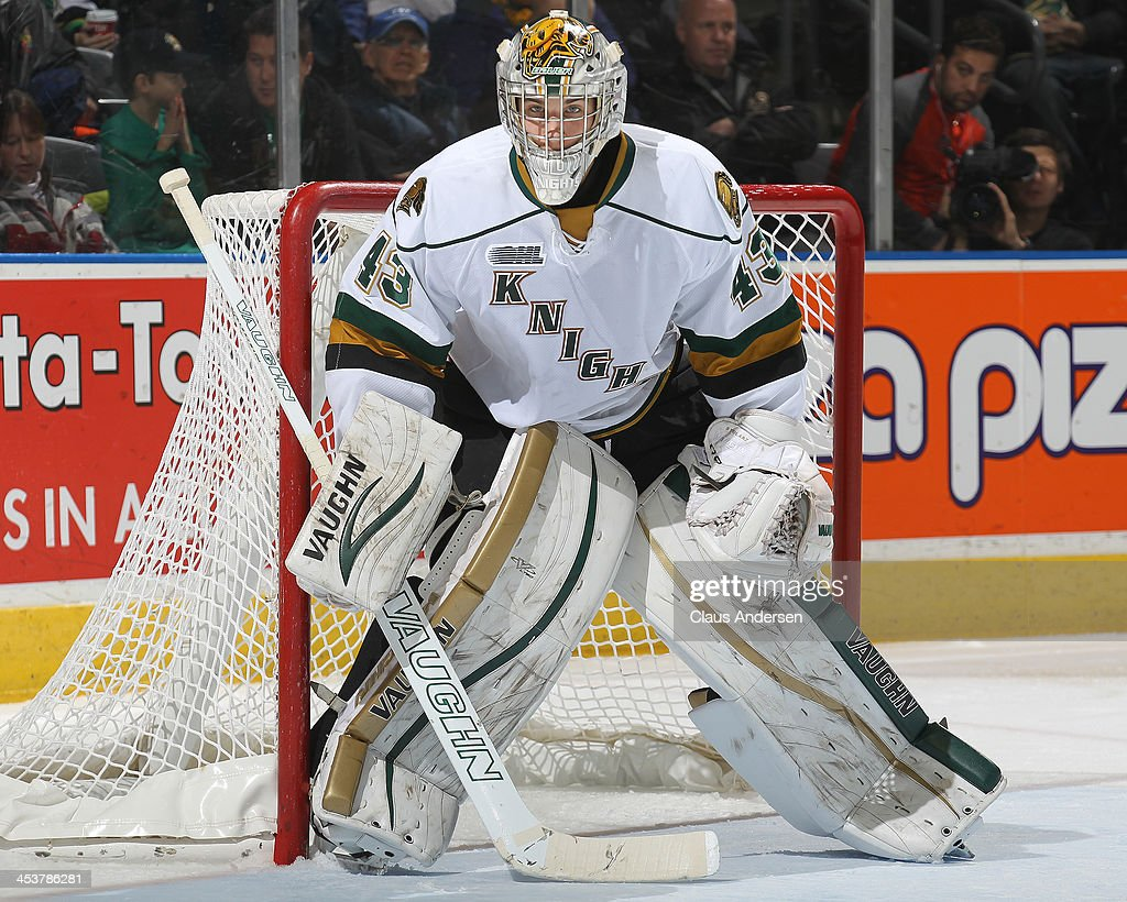 <a gi-track='captionPersonalityLinkClicked' href=/galleries/search?phrase=Anthony+Stolarz&family=editorial&specificpeople=9480785 ng-click='$event.stopPropagation()'>Anthony Stolarz</a> #43 of the London Knights watches for a shot against the Sault Ste. Marie Greyhounds during an OHL game at the Budweiser Gardens on December 4, 2013 in London, Ontario, Canada. The Knights defeated the Greyhounds 3-2.