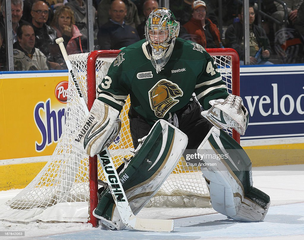 Anthony Stolarz #43 of the London Knights watches the corner in Game Five of the Western Conference Final against the Plymouth Whalers on April 26, 2013 at the Budweiser Gardens in London, Ontario, Canada. The Knights defeated the Whalers 5-4 in overtime to win the series 4-1.
