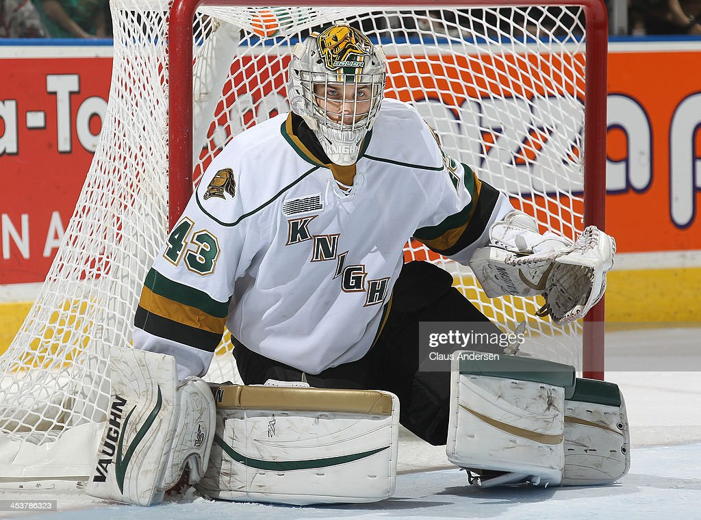 <a gi-track='captionPersonalityLinkClicked' href=/galleries/search?phrase=Anthony+Stolarz&family=editorial&specificpeople=9480785 ng-click='$event.stopPropagation()'>Anthony Stolarz</a> #43 of the London Knights watches the play without his stick against the Sault Ste. Marie Greyhounds during an OHL game at the Budweiser Gardens on December 4, 2013 in London, Ontario, Canada. The Knights defeated the Greyhounds 3-2.
