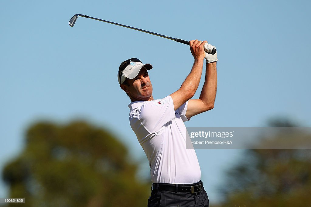 Anthony Summers of Australia plays a shot on the 5th hole during day two of the British Open International Final Qualifying Australasia at Kingston Heath Golf Club on January 30, 2013 in Melbourne, Australia.