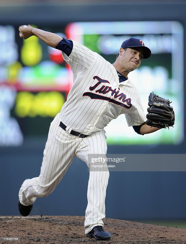 Anthony Swarzak #51 of the Minnesota Twins delivers a pitch against the Houston Astros during the fourth inning of the game on August 3, 2013 at Target Field in Minneapolis, Minnesota.